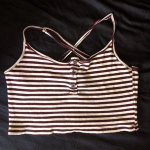 White& Maroon Striped Ribbed Crop Top